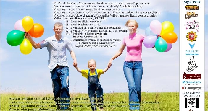 """Gegužės 6 d. – šeimų šventė """"Alytus – viena šeima"""""""