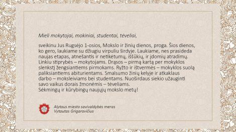 Alytaus miesto savivaldybės mero V. Grigaravičiaus sveikinimas Rugsėjo 1-osios proga