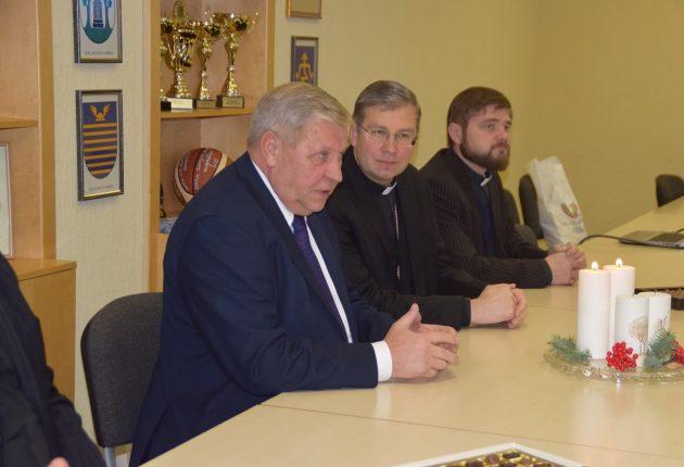 Savivaldybės meras Antanas Tenys, J. E. vyskupas Kęstutis Kėvalas