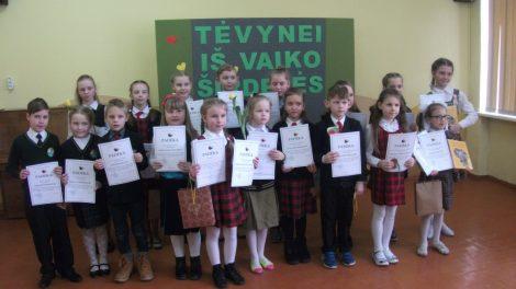 """Vyko 1–4 klasių mokinių meninio skaitymo konkursas """"Tėvynei iš vaiko širdelės"""""""
