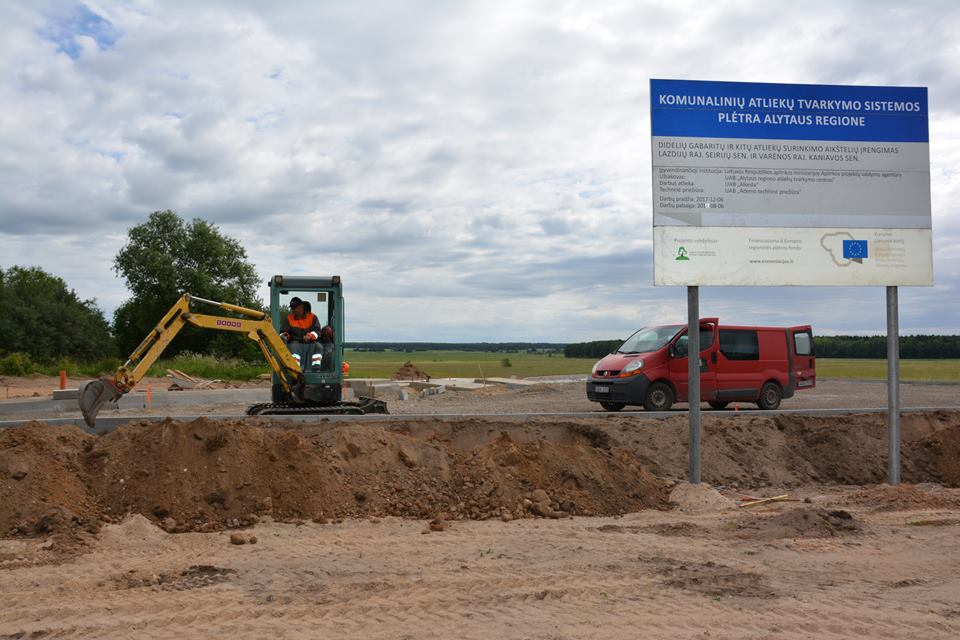 Įrengiama nauja didelių gabaritų atliekų surinkimo aikštelė Jasauskų kaime