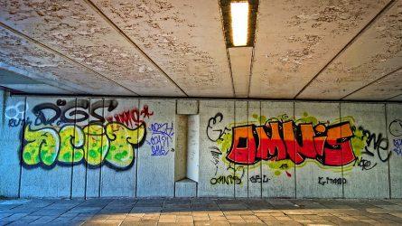 Grafičių užrašais pastatus darkę jaunuoliai laukia teismo