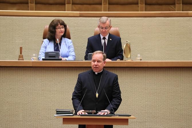 Vilniaus arkivyskupo metropolito Gintaro Grušo invokacija Seimo posėdyje, skirtame Respublikos Prezidento Gitano Nausėdos priesaikos priėmimo ceremonijai