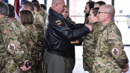 Išlydėti NATO oro policijos misiją Baltijos šalyse baigę Danijos kariai