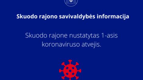 Užfiksuotas pirmasis koronaviruso (COVID-19) atvejis Skuodo rajone