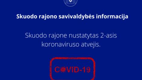 Patvirtintas antras koronaviruso infekcijos atvejis Skuodo rajone