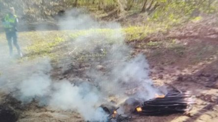 Atokesnėje vietoje deginę kabelius neliko nepastebėti