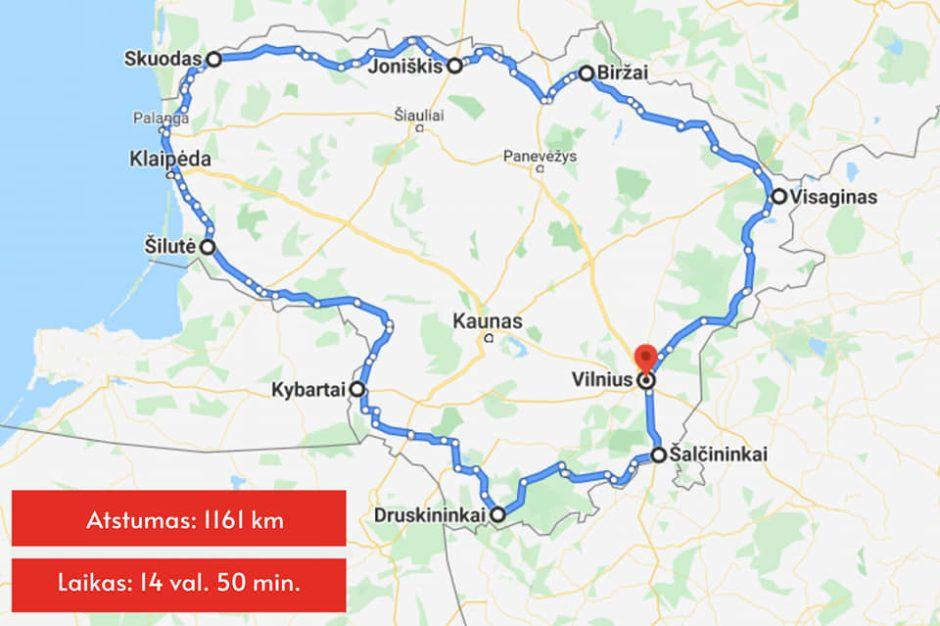 Vitoldo Miliaus kelionė – karantino režimu aplink Lietuvą apvažiavo per mažiau nei 15 valandų