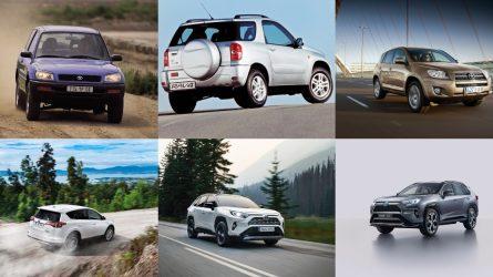 """Išskirtinė """"Toyota RAV4"""" istorija: penkios sėkmingiausio pasaulyje SUV kartos"""