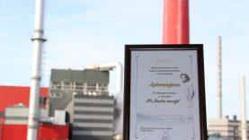 """AB """"Šiaulių energija"""" apdovanota už sėkmingas investicijas į verslo plėtrą"""