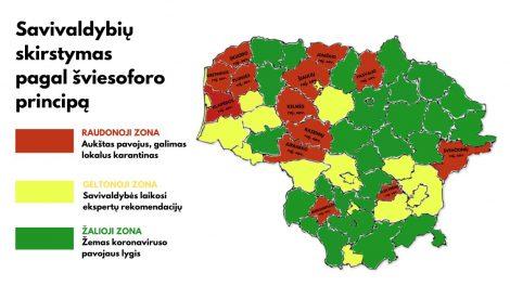 Patvirtinta: nuo šiol savivaldybės pagal sergamumą koronavirusu bus skirstomos į šviesoforo spalvų zonas