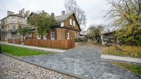 Rekonstruotoje S. Fino gatvėje Šnipiškėse atkurtas istorinis akmenų grindinys