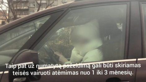 Prevencinė priemonė parodė ‒ vairuojant vis dar neatsisakoma žalingo įpročio naudotis mobiliojo ryšio telefonais (video)