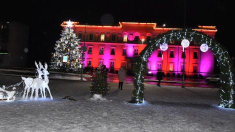 Varėnoje šventinę dvasią paskleidė įžiebta Kalėdų eglutė ir sužibusi eglučių alėja