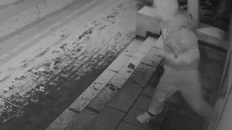 Pyktį išliejo ant policijos komisariato durų (video)